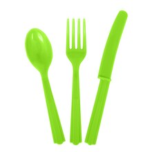 Assorted Plastic Cutlery Set for 6, Neon Green